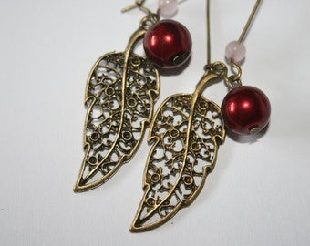 Leaf Earrings - Steampunk Earrings - Tinged Leaves- Gift for Her -