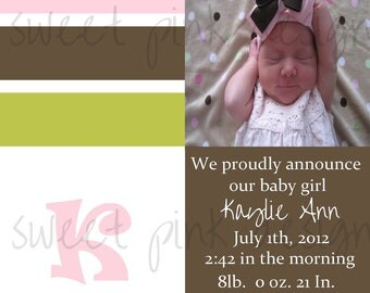 Pink Stripe Birth Announcement- Printable Birth Announcement