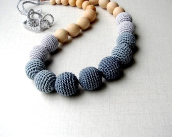 Grey Teething jewelry,Nursing necklace,For new mommy,Grey Gradation,Crochet bead,Eco friendly Safe,Wooden baby necklace,Babywearing beaded