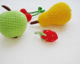 Play food Fruit,Crochet Baby toy,Apple Pear Srawberry Cherry,Ecofriendly Safe Nature,Kitchen decor, kids gardening toy,Play Grocery Store