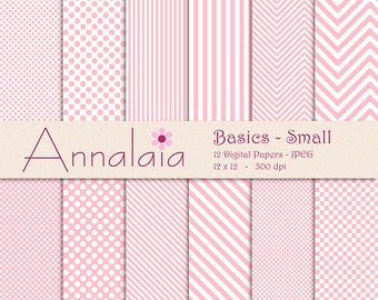INSTANT DOWNLOAD Digital Paper Pack: Pink and White Dots Stripes Chevron Checks Small Basics Baby Girl Scrapbook Paper Commercial Use 289
