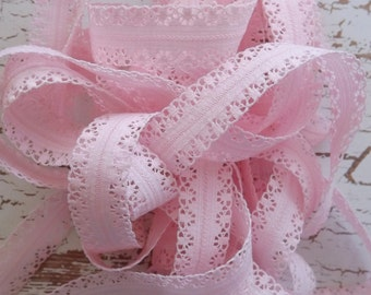 10 Yards - Pink Elastic Lace