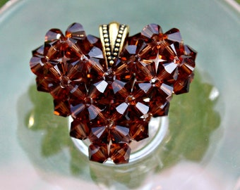 Coffee Swarovski Crystal Necklace, Brown Heart Pendant, Smoked Topaz Puffed Heart Floating Necklace, Fall Jewelry, French Roast