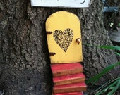 Fairy garden, fairy door, heart, unique, birthday, Garden, Mothers day, miniature, Yellow Fairy door, ready to ship, Housewarming gift.