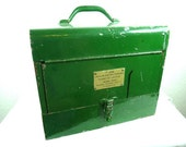 """Vintage Green Metal Rockwell Manufacturing Co. Pittsburg, PA 7"""" Saw Box, Storage Container"""