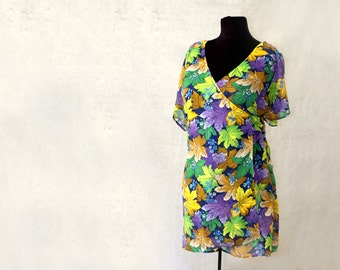 silk wrap blouse, shirt or tunic, Uzbek silk, floral or ikat, green yellow and violet, more colors available