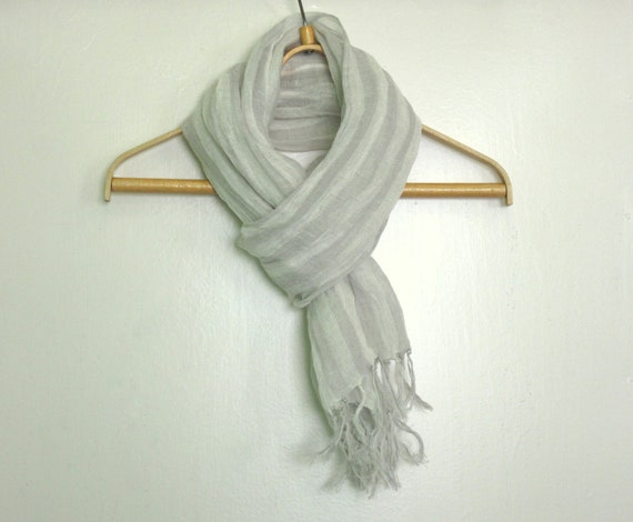 Reserved to Cecile. Linen scarf Light gray - white stripes linen scarf with knot fringe Summer linen scarf Natural organic linen scarf