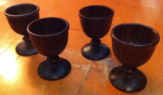 Wooden Egg Cups Set of 4 Vintage Set Wooden Cups Brown Wooden Cups