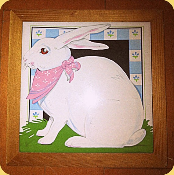 Bunny Rabbit Ceramic & Wodden Hot Plate Pan Holder Pink Blue White Bunny