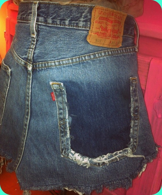 Levis 501 Denim Faded Blue High Waisted Shorts Cut off Short Shorts Upcycled shorts Short Plus Size W34