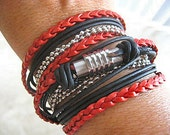 "Boho Chic Pearlized Red and Black Leather Wrap Bracelet with Silver Accents... Magnetic Clasp ...""FREE SHIPPING"""