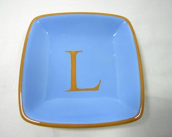 "monogram ceramic tray 4"" x 4"""
