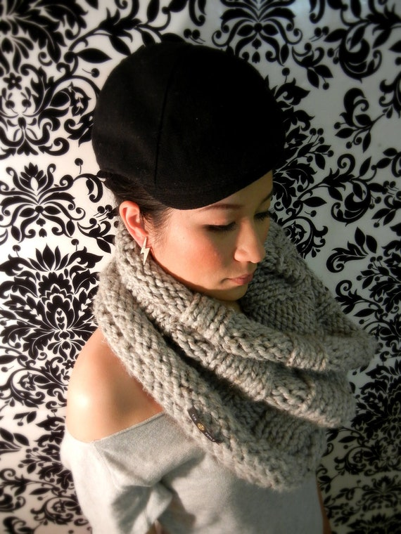 LIX PERLE I Heart Grey Cowl Scarf: Hand Knit, Chunky Soft, Grey, Charcoal grey, Oat, Wine, Mustard Yellow, Brown, Navy, Dark Green, Hood Tub