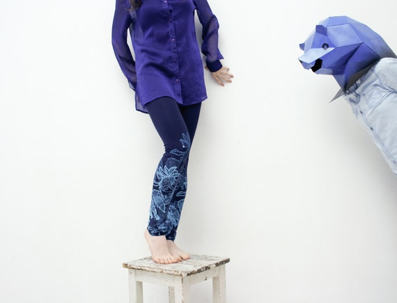 XS size- Navy blue leggings with cobalt blue fancy animal print
