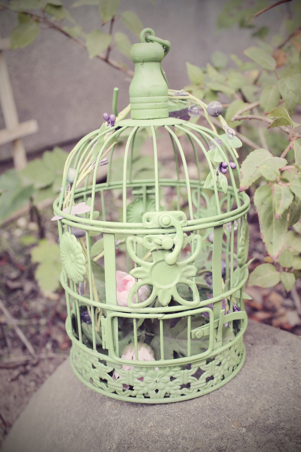 Small Metal Green Cottage Bird Cage Decorated Shabby Chic