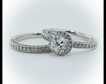 Bridal set engagement ring wedding band diamond setting moissanite center wedding set forever brilliant round center