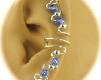 Pair of Ear Cuffs Swarovski Crystal and Sterling Silver Your Choice of 12 Birthstone Colors, Wire Ear Cuff, Non Pierced