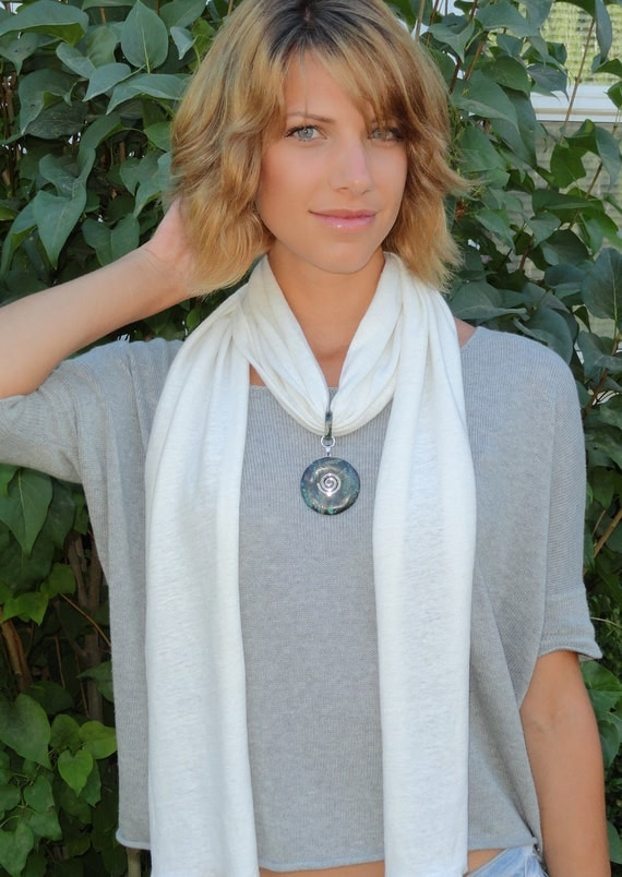 Chakra Balancing Hemp Scarf Necklace with Reiki-Attuned Turquoise and Agate pendant - Gifts under 40