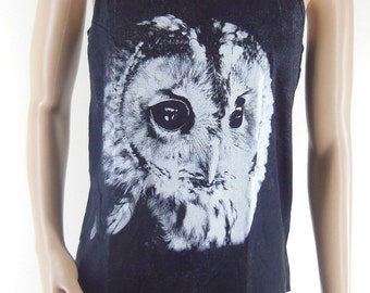 Owl Shirt Owl Tank Top (Unisex T-Shirt) shirt for men men graphic tee animal shirt women tee shirt Bleach Black Tunic Screen Print Size M