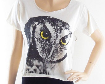 Owl Glasses Animal Design Women Shirts Crop Top Tee Shirt Cream T-Shirt Screen Print Size  M