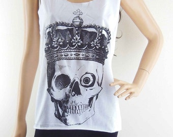 Skull Crown Shirt (size S) Skull Shirt Halloween Shirt  Women Tshirt Tunic Vest Sleeveless
