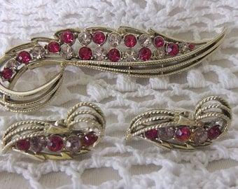 Vintage Coro Pink Rhinestone Brooch and Earring Set