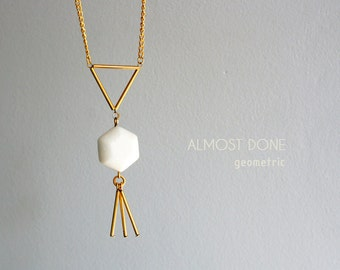 Geometric necklace, hexagon and triangle necklace, gold and white coral tassel necklace,