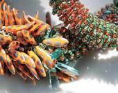 Orange Peacock Dagger Bead Necklace