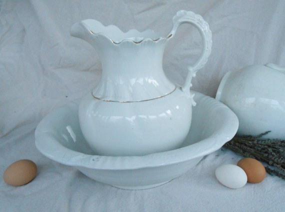 Antique White Ironstone Pitcher and Wash Basin, Admiral VP Co. Made in USA