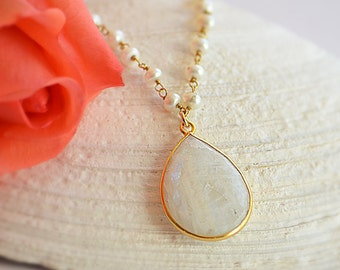 Rainbow Moonstone Necklace - June Birthstone jewelry - freshwater pearl wire wrapped necklace - moonstone jewelry - bridesmaid necklace
