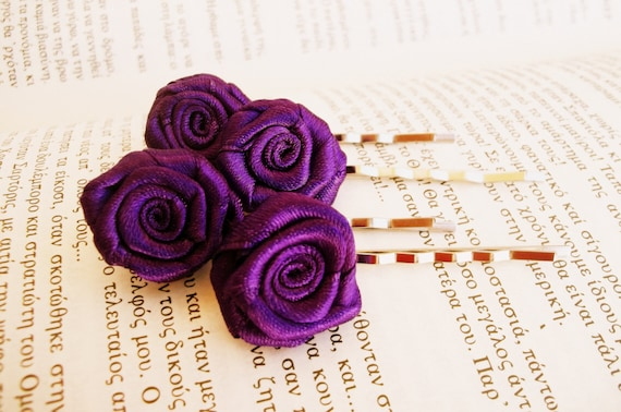 Purple rose bobby pin - Bridal autumn hair flowers - Small hair roses purple clips,hair pin,bridal flower,winter wedding,bobby pin,romantic