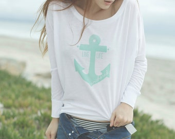 S A L E Live Life Anchored Slouchy Long Sleeve Tee White/Mint