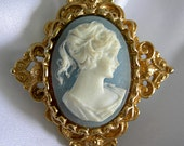 Victorian Inspired Blue and White Cameo Gold Tone Brooch Pin - Signed GERRY'S - Vintage