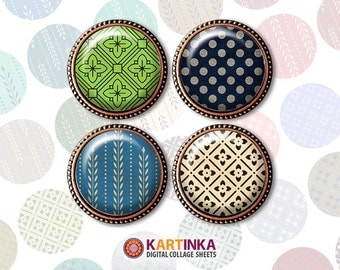 1 inch & 1.5 inch Printable RETRO PATTERNS Digital download images for Round pendants Bezel trays Bottle caps Glass cabochons Crafts DIY