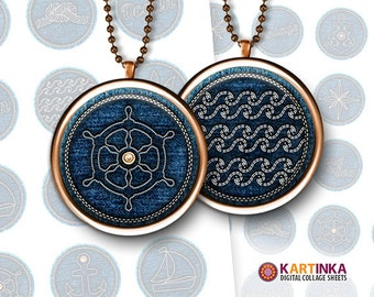 1 inch and 1.5 inch NAUTICAL Printable Images for Resin pendants Bezel settings Magnets Craft Bottle caps Jewelry making Digital Downloads