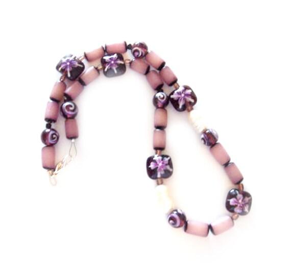 Purple iris glass beads necklace, purple accents