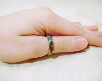 Vintage Brass Ring - 1970s Floral Acrylic Inlay Size 6