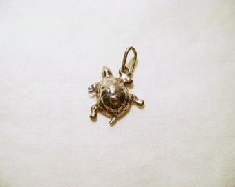 Vintage Brass Turtle Charm - 1990s Silver Tone