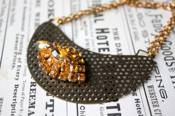 Vintage Golden Rhinestone Earring and Repurposed Chain Bib Necklace