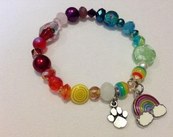 Rainbow Bridge Beaded Bracelet with Rainbow Charm and Rainbow Bridge Poem - One of a Kind - Each Bracelet Unique - Support Rescue