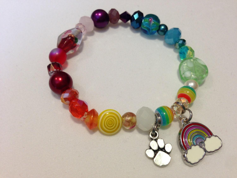 rainbow bridge beaded bracelet with rainbow charm and rainbow