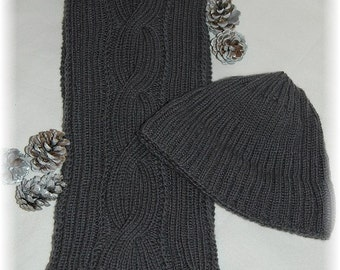 "Pure Cashmere ""Galiano Island""- Hand knit Scarf & Hat set/combo for Men, MADE TO ORDER"