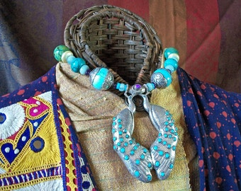 Double Tribal Gorgeous Peacock Necklace