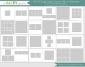 10x10 Instagram Square Album template, 24 SINGLE page spreads, photographer square album, square photo album, iphone instagram album