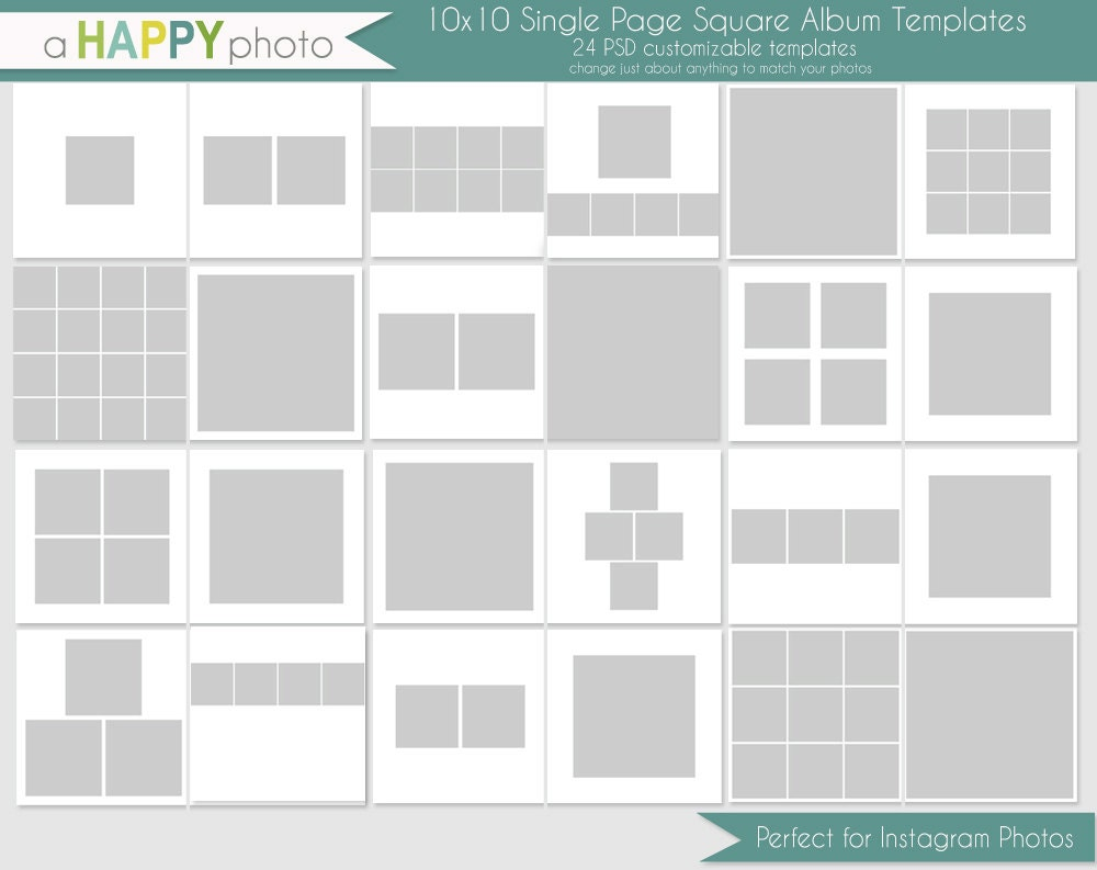 10x10 Instagram Square Album template 24 SINGLE page spreads – Template for Photo Album