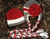 Red, Grey, White, Beanie, Ohio State, Texas, Tech, Game day, Hat, newborn, baby, boy, girl, crochet, football, baseball, basketball, sports