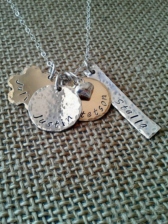 Custom Mom Necklace-Mixed Metal Name Charms-Stamped Evermore