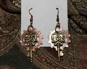 Gear and heart key earrings