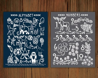 "Woodland Alphabet & Number Poster Prints (8""x10"")"