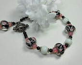 Pink Glow - Bracelet - Pink, Black and White for Casual or Dressy Wear